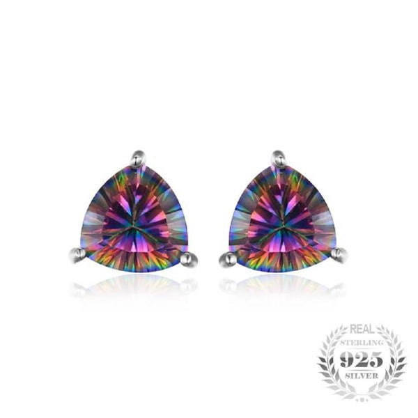 Impeccable 4.5Ct Rainbow Fire Mystic Topaz 925 Sterling Silver Stud Earrings-EARRINGS-Vera Nova Jewelry