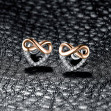 Infinity Heart Cubic Zirconia Stud Earrings 925 Sterling Silver Gifts For Her Anniversary Fashion Jewelry New-EARRINGS-Vera Nova Jewelry