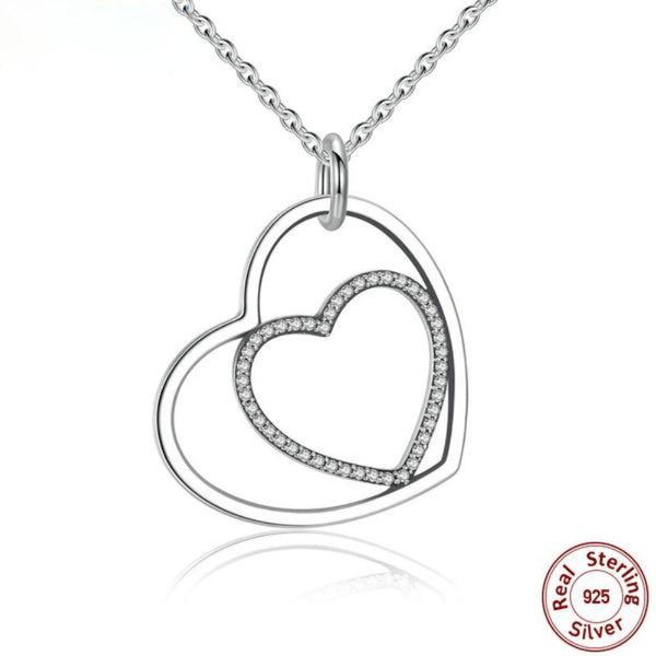 Inimitable Heart To Heart Sterling Silver Pendant Necklace-Necklaces-Vera Nova Jewelry