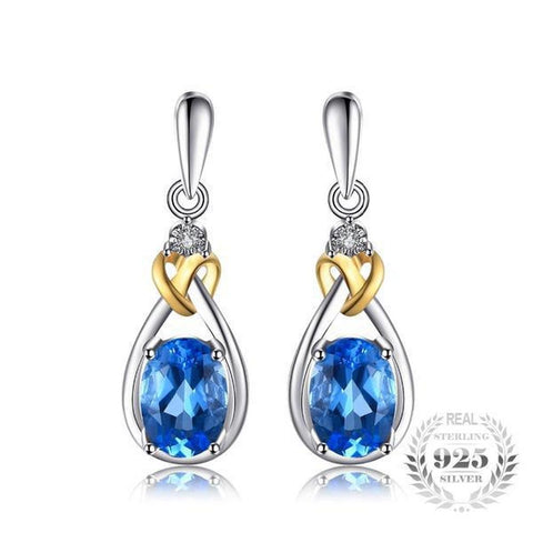 Love Knot 1.9Ct Natural Blue Topaz 925 Sterling Silver Dangle Earrings - Vera Nova Jewelry