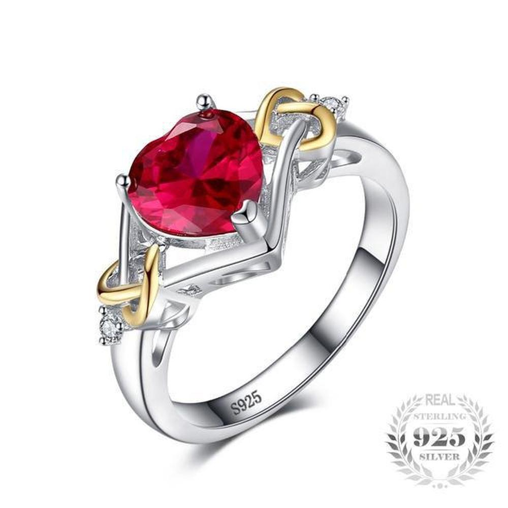 Love Knot Heart 2 5Ct Lab-Created Red Ruby Ring Made With 925 Sterling  Silver