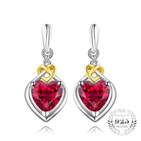 Love Knot Heart 3.4Ct Lab-Created Red Ruby 925 Sterling Silver Dangle Earrings - Vera Nova Jewelry