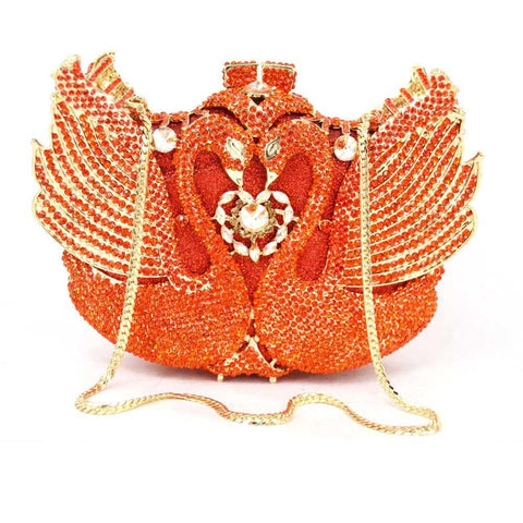 Love Swans Crystals Evening Clutches-Clutches-Vera Nova Jewelry