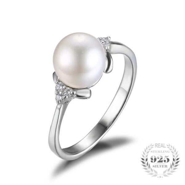 Luminous Classic Natural Freshwater Pearl Rings Made With 925 Sterling Silver-RINGS-Vera Nova Jewelry