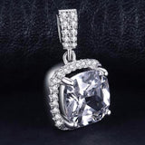 Luminous Cushion 3Ct Halo Solitaire 925 Sterling Silver Pendant Necklace-Necklaces-Vera Nova Jewelry