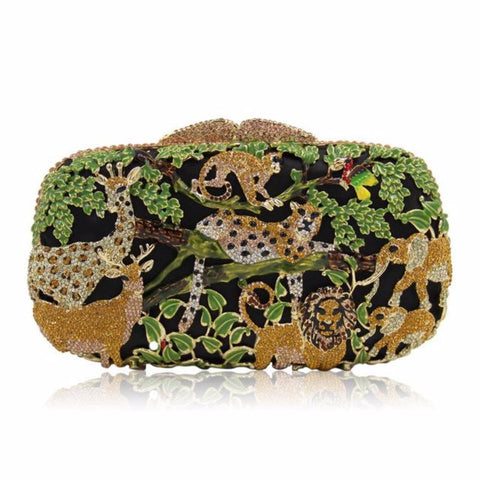 Luxury Jungle Crystals Evening Clutches - Vera Nova Jewelry