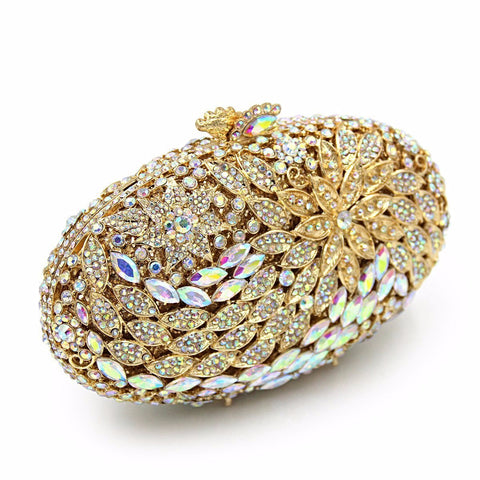 Luxury Oval Crystals Evening Clutch - Vera Nova Jewelry