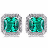 Magnificent Square 1.2Ct Created Emerald 925 Sterling Silver Stud Earrings - Vera Nova Jewelry