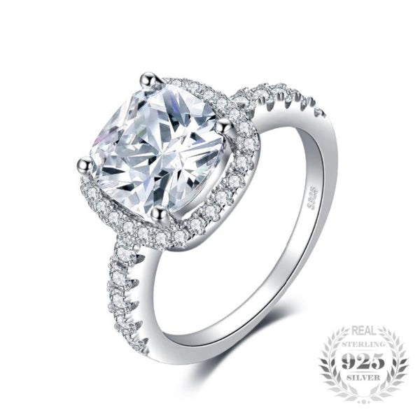 Melodious Cushion Cut 3Ct Halo Solitaire Rings Made With 925 Sterling Silver - Vera Nova Jewelry