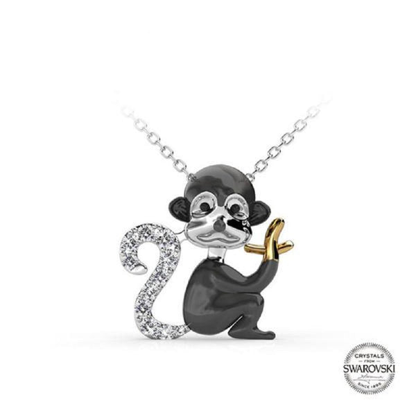 Monkey Embellished With Crystals From Swarovski Pendant Necklace - Vera Nova Jewelry