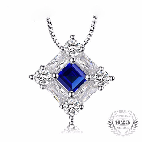 Octagonal 1.7Ct Created Blue Sapphire 925 Sterling Silver Pendant Necklace - Vera Nova Jewelry