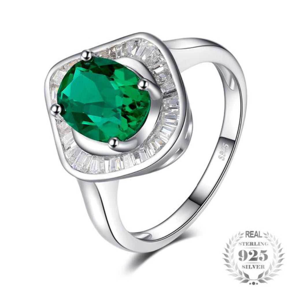 Extravagant 2Ct Synthetic Emerald 925 Sterling Silver Ring