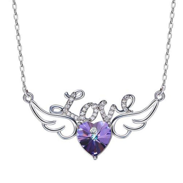 Purple Heart Shaped And Lover Letter Pendant Necklaces Made With Swarovski Elements - Vera Nova Jewelry