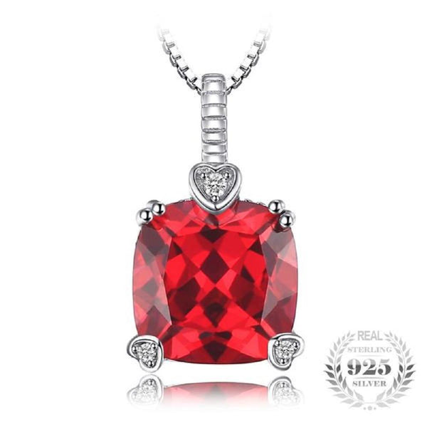 Radiant Fancy 4.7Ct Square Created Red Ruby Sterling Silver Pendant Necklace - Vera Nova Jewelry