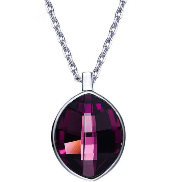 Retro Cubic Oval Shaped Pendant Necklaces Made With Swarovski Elements-Necklaces-Vera Nova Jewelry