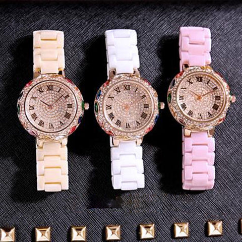 Rhinestone Colorful Quartz Wristwatch-Wrist Watches-Vera Nova Jewelry