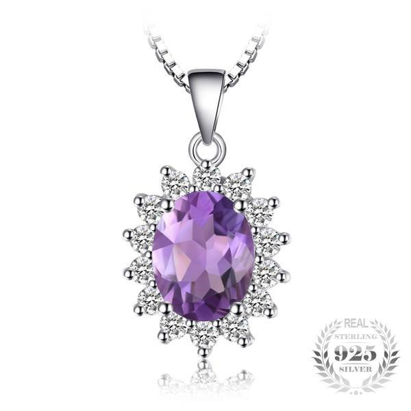 Royal Oval 1.8Ct Natural Amethyst 925 Sterling Silver Pendant Necklace-Necklaces-Vera Nova Jewelry