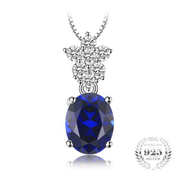 Salacious 2Ct Created Blue Sapphire 925 Sterling Silver Pendant Necklace-Necklaces-Vera Nova Jewelry