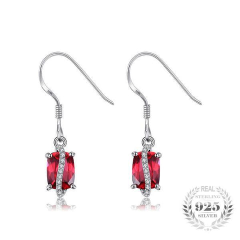 Sassy Rectangle 3.86Ct Lab-Created Ruby 925 Sterling Silver Drop Earrings - Vera Nova Jewelry
