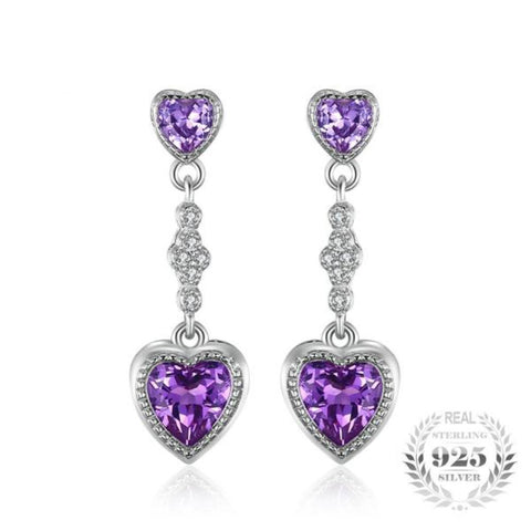 Seductive Hearts 4.1Ct Created Alexandrite Sapphire 925 Sterling Silver Drop & Dangle Earrings-EARRINGS-Vera Nova Jewelry