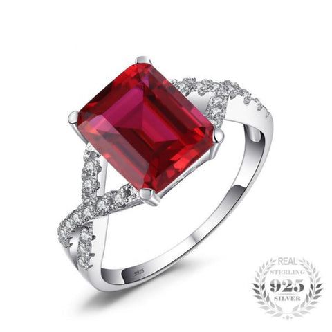 Sensational 4.6Ct Created Red Ruby Rings Made With 925 Sterling Silver - Vera Nova Jewelry