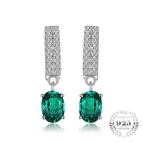 Seraphic 1.7Ct Oval Lab-Created Emerald 925 Sterling Silver Drop Earrings - Vera Nova Jewelry