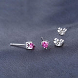 Sophisticated 0.63 Ct Created Pink Sapphire 925 Sterling Silver Stud Earrings-EARRINGS-Vera Nova Jewelry