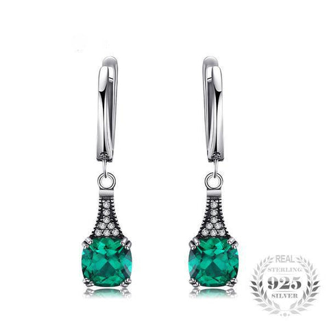 Sophisticated 2.9Ct Cushion Cut Lab-Created Emerald 925 Sterling Silver Dangle Earrings-EARRINGS-Vera Nova Jewelry