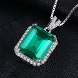 Spectacular Luxury 5.5Ct Created Emerald Halo Sterling Silver Pendant Necklace-Necklaces-Vera Nova Jewelry