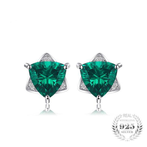 Spectacular Triangle Shape 2.22Ct Created Emerald 925 Sterling Silver Stud Earrings-EARRINGS-Vera Nova Jewelry