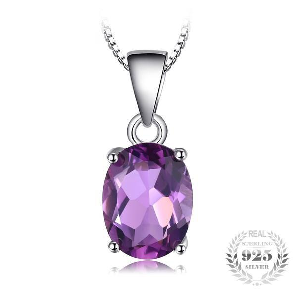 Splendid 1.7Ct Oval Cut Natural Amethyst 925 Sterling Silver Pendant Neclace-Necklaces-Vera Nova Jewelry
