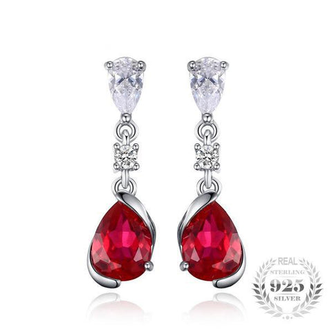 Splendid 2.4Ct Pear Shape Red Lab-Created Ruby 925 Sterling Silver Drop Earrings - Vera Nova Jewelry