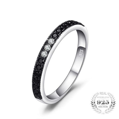 Splendid Classic 0.25Ct Natural Black Spinel Ring Made With Genuine 925 Sterling Silver-RINGS-Vera Nova Jewelry