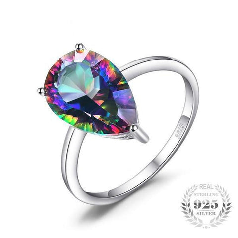 Splendorous Concave Cut 3.69Ct Genuine Rainbow Fire Mystic Topaz 925 Sterling Silver Rings-RINGS-Vera Nova Jewelry