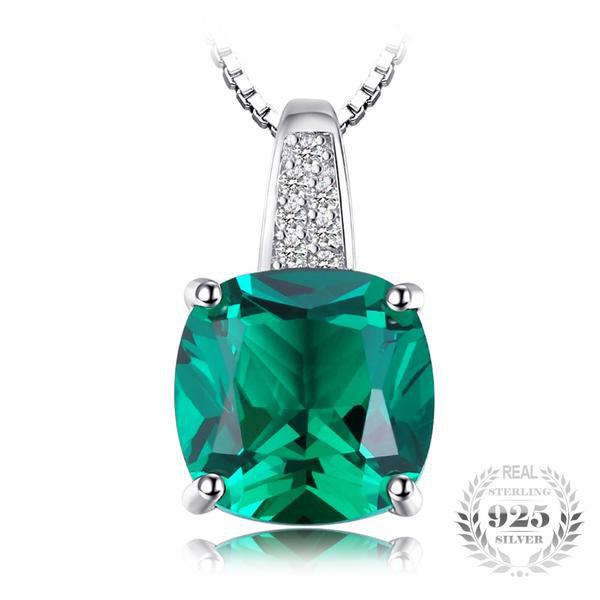 Splendorous Cushion 3.4Ct Lab-Created Emerald 925 Sterling Silver Pendant Necklace-Necklaces-Vera Nova Jewelry