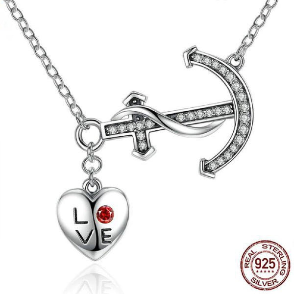 Splendorous Love Heart & Anchor Sterling Silver Pendant Necklace-Necklaces-Vera Nova Jewelry