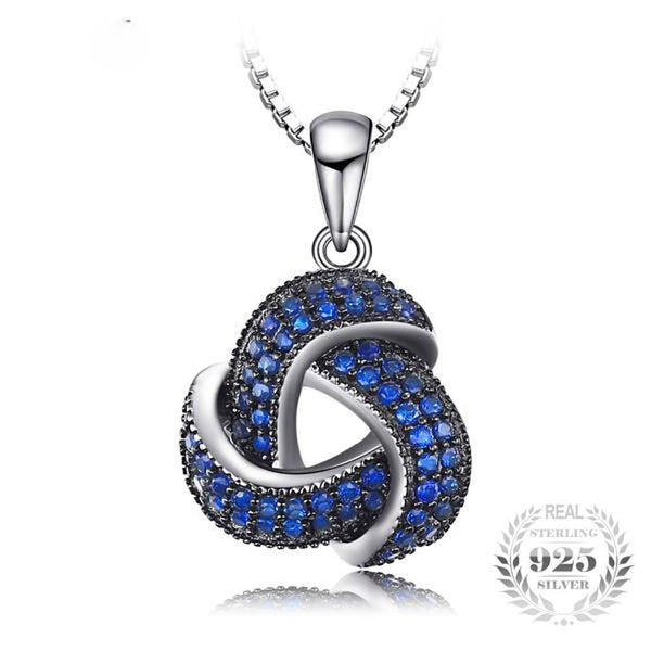Statuesque Flower 0.5Ct Created Blue Spinel 925 Sterling Silver Pendant Necklaces-Necklaces-Vera Nova Jewelry