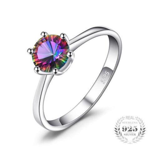 Stunning 1Ct Mystic Fire Rainbow Topaz Rings Made With Solid 925 Sterling Silver - Vera Nova Jewelry