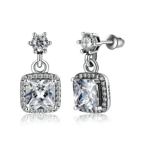 Stunning Aaa Cubic-Zirconia Cushion-Cut Drop Earrings With Push Back Finding - Vera Nova Jewelry