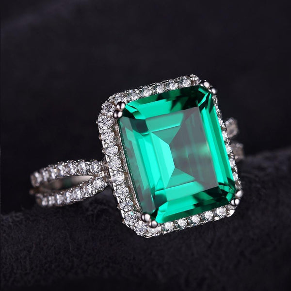 706733d91 Superior Classic 5.5Ct Created Emerald Rings Made With Solid 925 Sterl