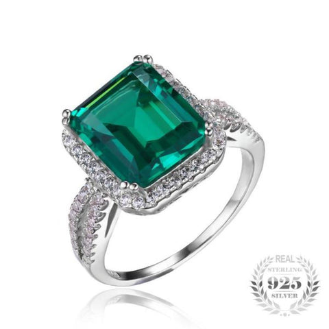 Superior Classic 5.5Ct Created Emerald Rings Made With Solid 925 Sterling Silver-RINGS-Vera Nova Jewelry