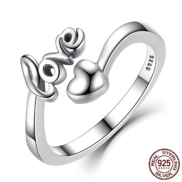 Sweet I Love You Heart Sterling Silver Adjustable Rings-RINGS-Vera Nova Jewelry