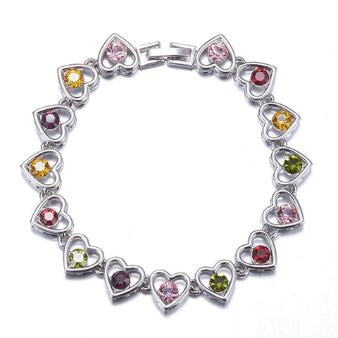 Tempestuous Hearts Platinum Plated Link Bracelets Made With Swarovski Elements-BRACELETS-Vera Nova Jewelry