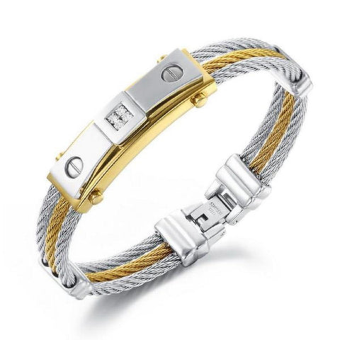 Three Layers Rope Chain Gold & Silver Cubic Zirconia Bracelets Bangles For Men-BRACELETS-Vera Nova Jewelry