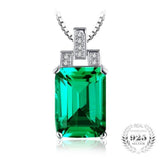 Timeless Beauty Vintage 6.51Ct Created Emerald 925 Sterling Silver Pendant Necklace-Necklaces-Vera Nova Jewelry