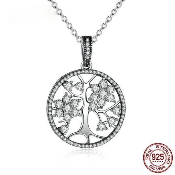 Tree Of Life Round Pendant Necklace Made With 925 Sterling Silver-Necklaces-Vera Nova Jewelry