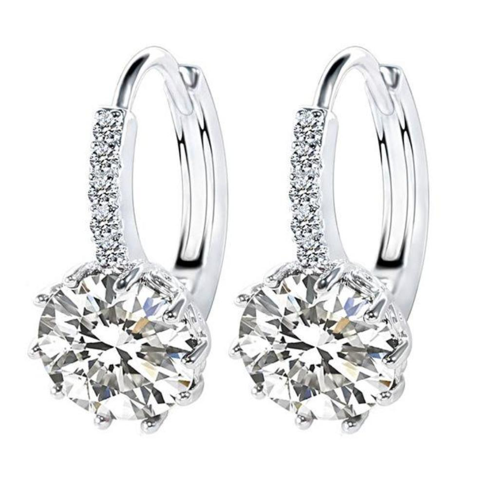 diamond view white four gold top stud jewellery platinum earrings studs round prong in