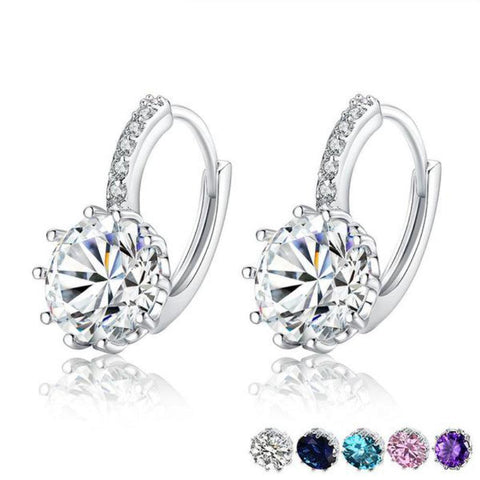 Trendy Round Hoop Aaa Zircon Earrings Made With Platinum Plated-EARRINGS-Vera Nova Jewelry