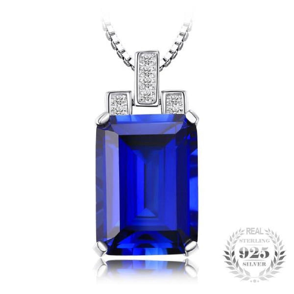 Tres Jolie 9.39Ct Created-Blue-Sapphire 925 Sterling Silver Pendant Necklace-Necklaces-Vera Nova Jewelry