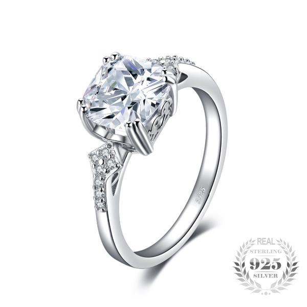 9a407b3f7b572 Vintage 3Ct Cushion-Cut Cubic Zirconia 925 Sterling Silver Engagement Ring
